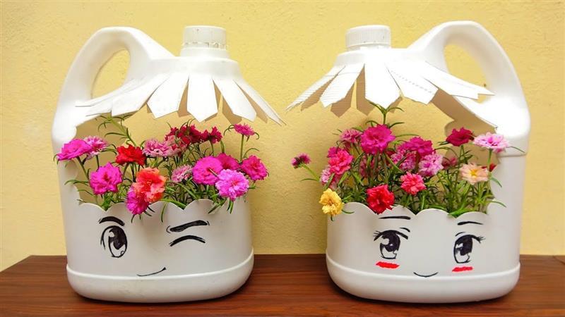 mini jardim com garrafa pet