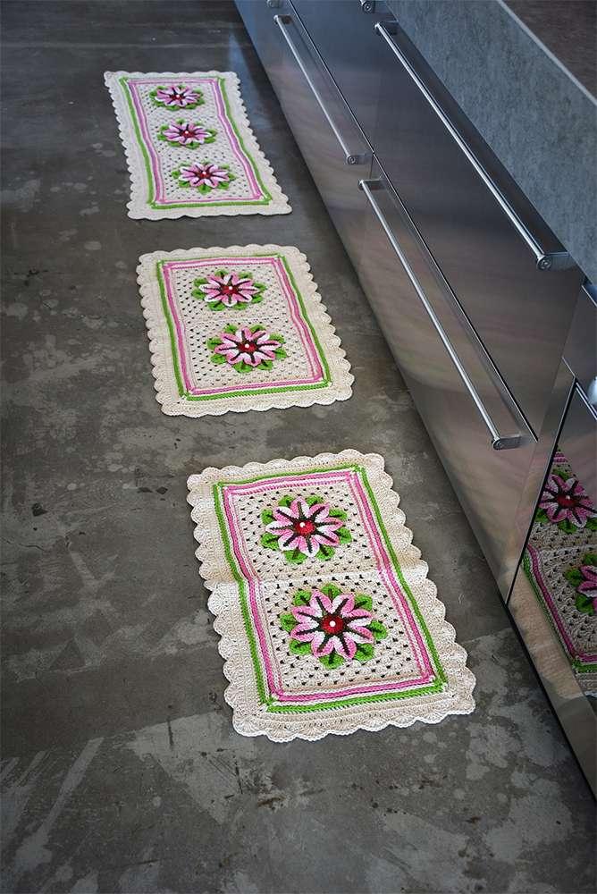 tapete de barbante para cozinha com flor