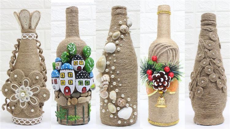 Garrafas decoradas com sisal