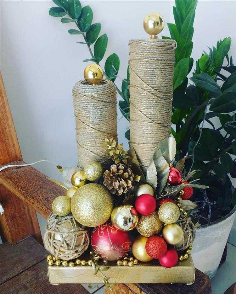 Velas de Natal feitas com material reciclado
