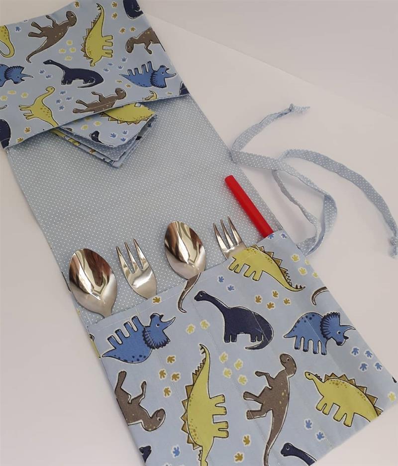Porta talheres em tecido artesanal