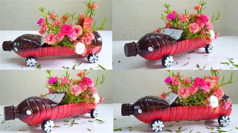 vaso em formato de carrinho