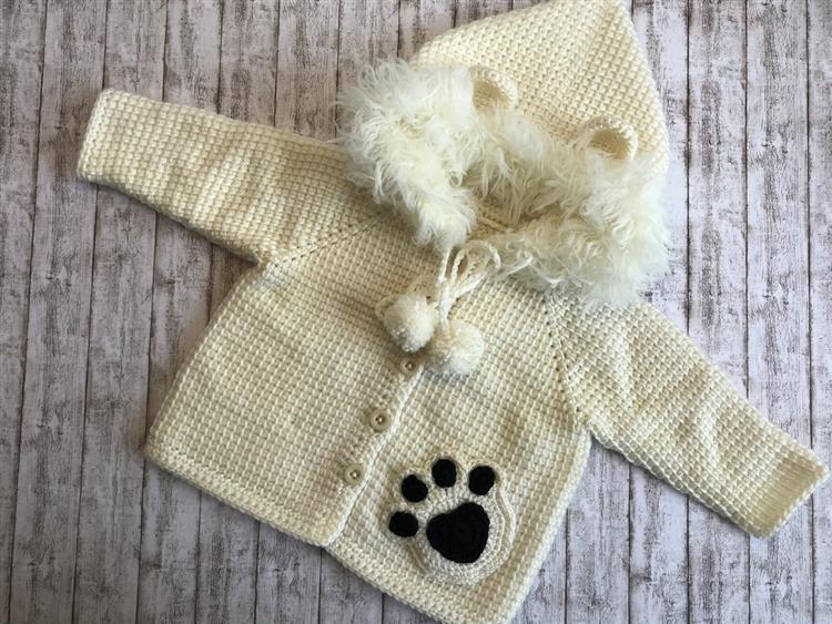casaco de crochê tunisiano em lã