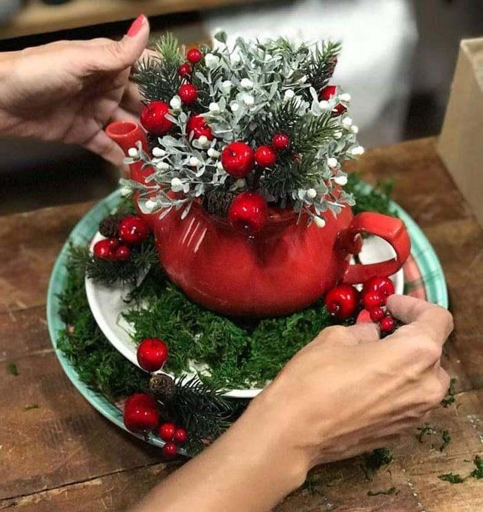 enfeite de natal com bule