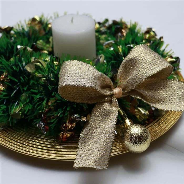 enfeite natalino verde e dourado