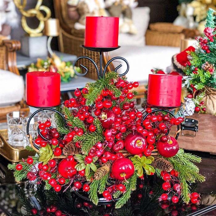 enfeite natalino vermelho