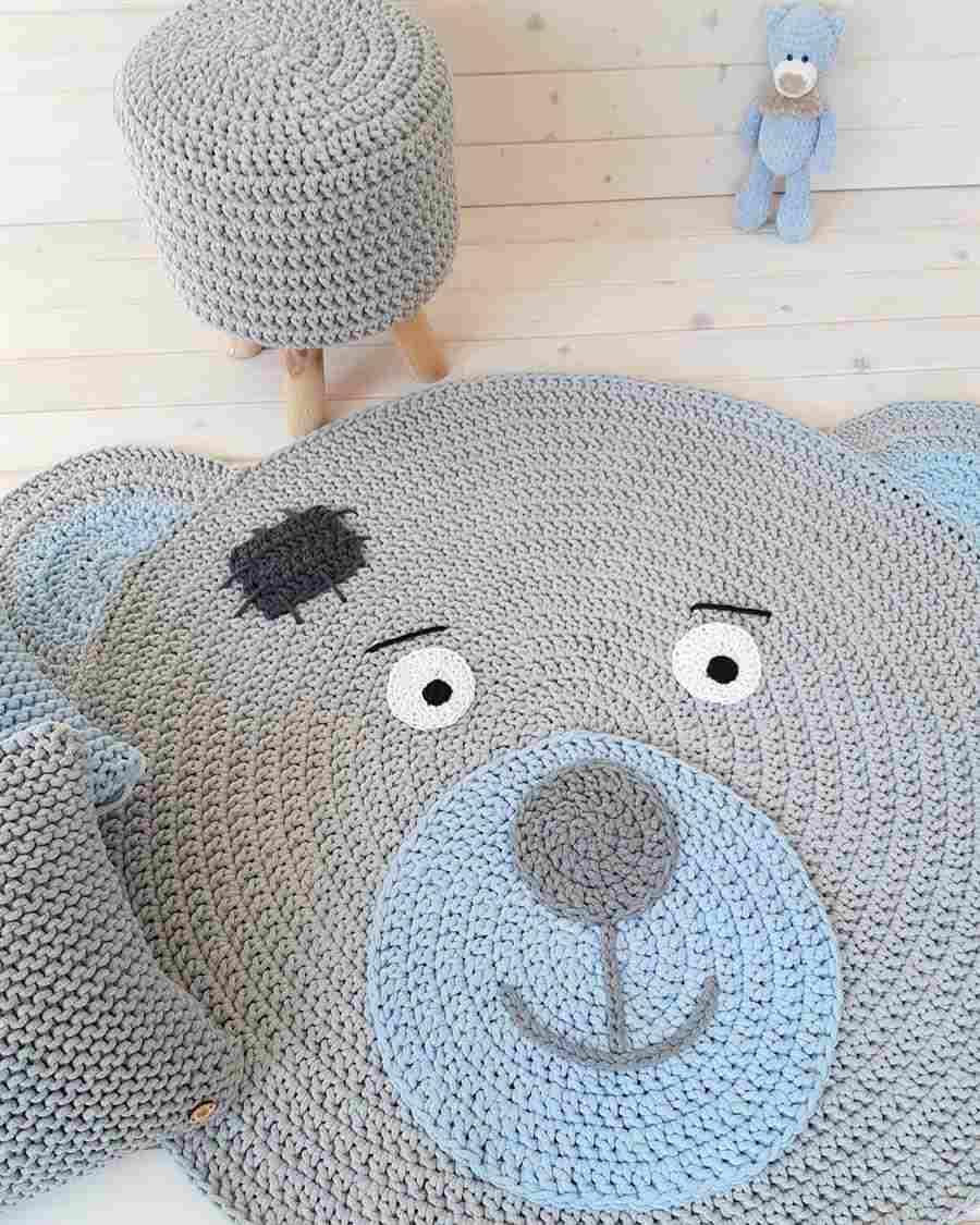 Cabeça de urso em cinza e azul