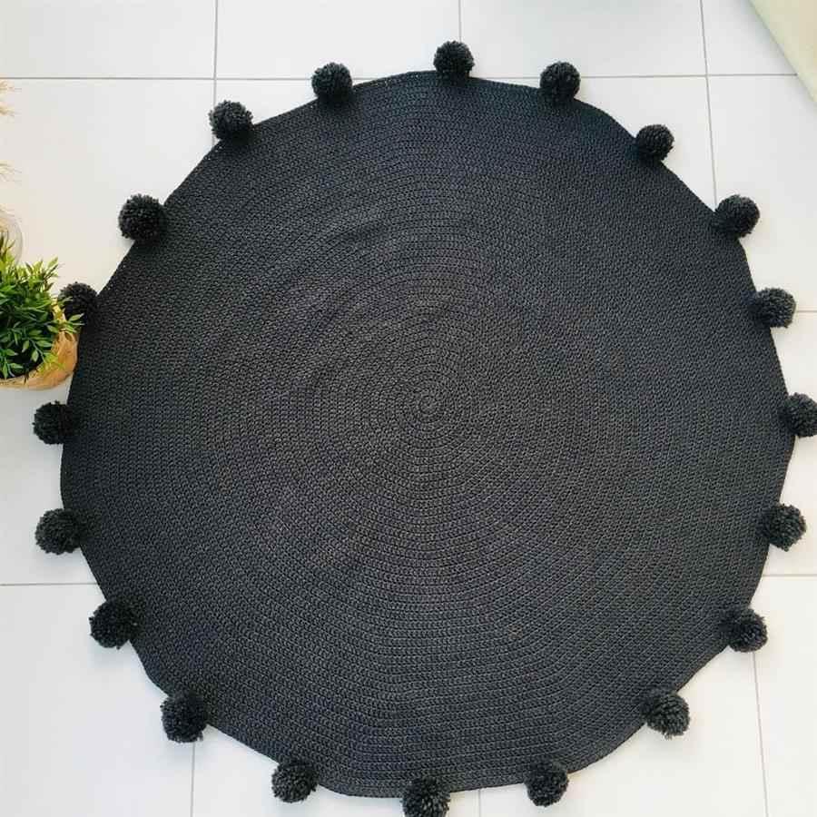 tapete de crochê redondo preto