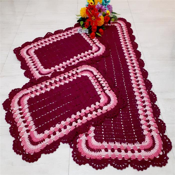 Jogo de tapetes com barbante 3 cores