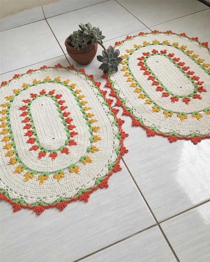 Tapetes de barbante feitos de crochê
