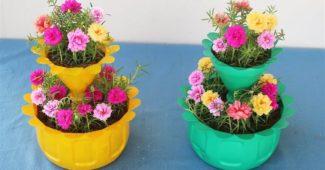 vasos de planta criativos com garrafa pet
