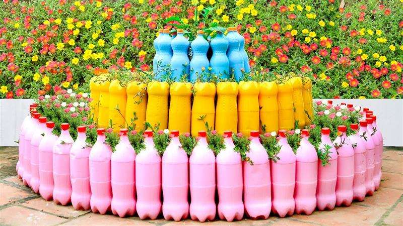 Cerquinha de jardim com garrafa PET