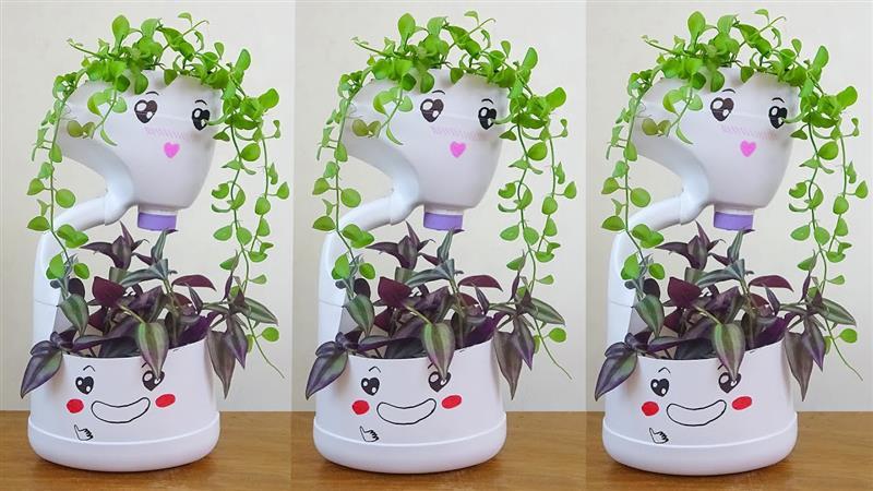 arte com garrafa pet para jardim