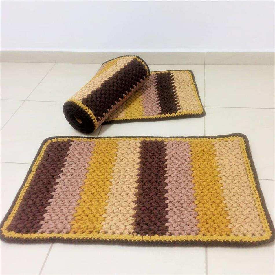 jogo de tapete de crochê retangular