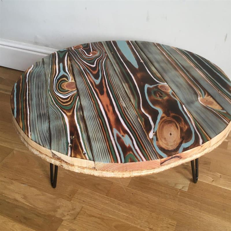 mesa de centro de pallet redonda