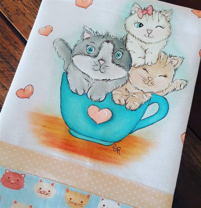 pintura em pano de prato gatos