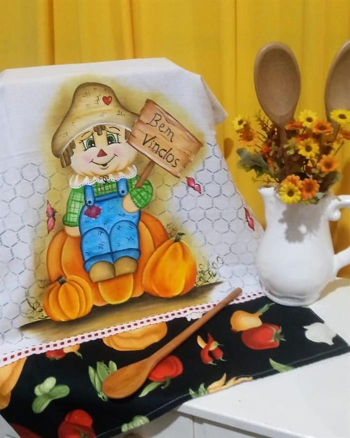 pintura pano de prato boneca