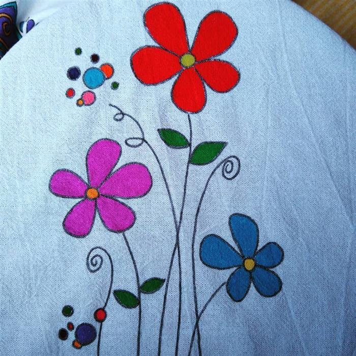 pintura para pano de prato flores