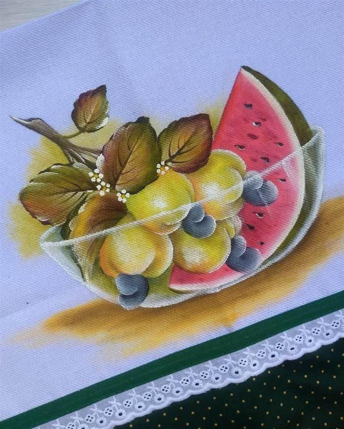 pintura para pano de prato frutas