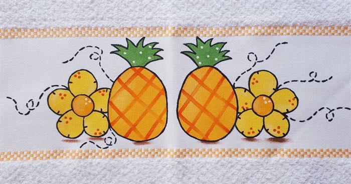 pinturas em panos de prato frutas