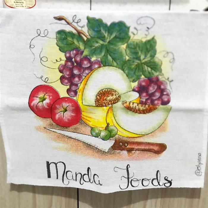 pinturas em panos de pratos com frutas