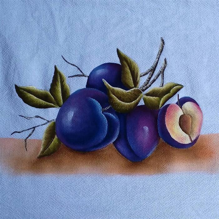 pinturas pano de prato frutas