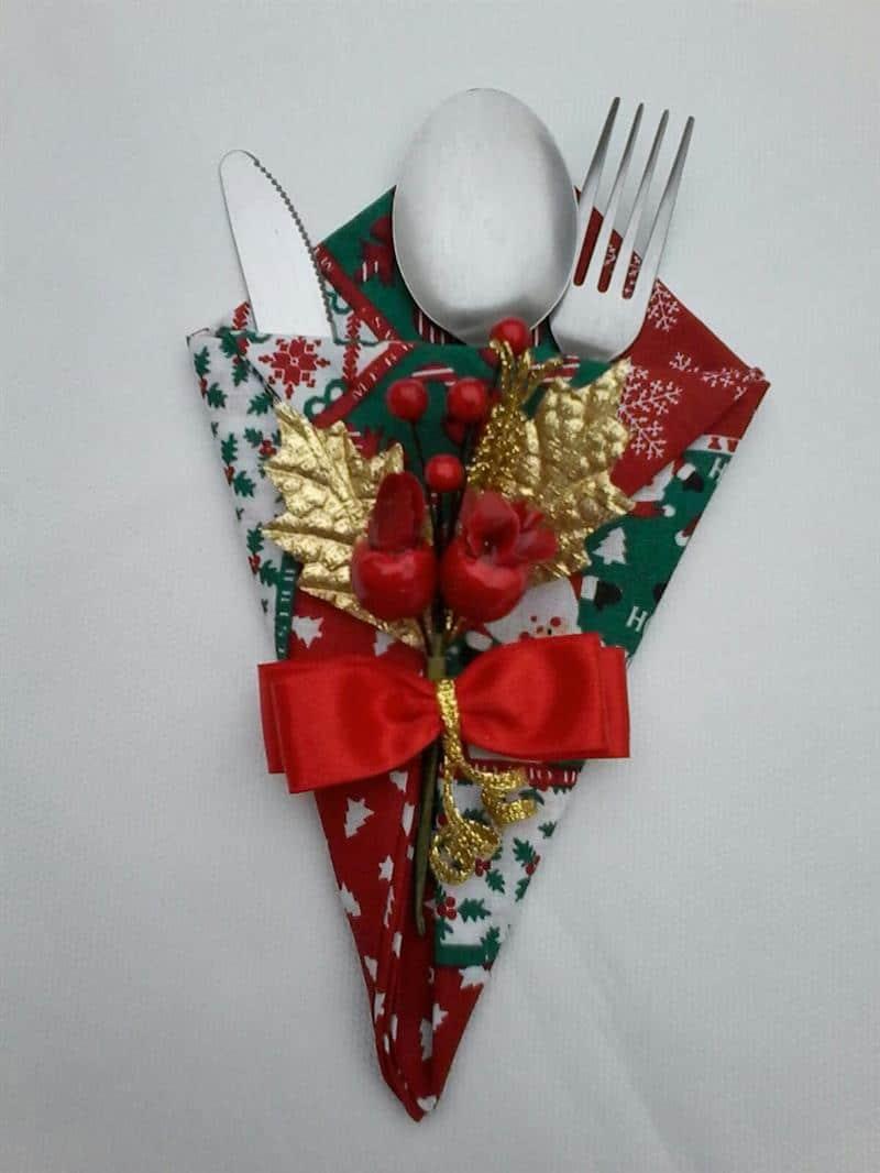 porta talher de tecido para o natal