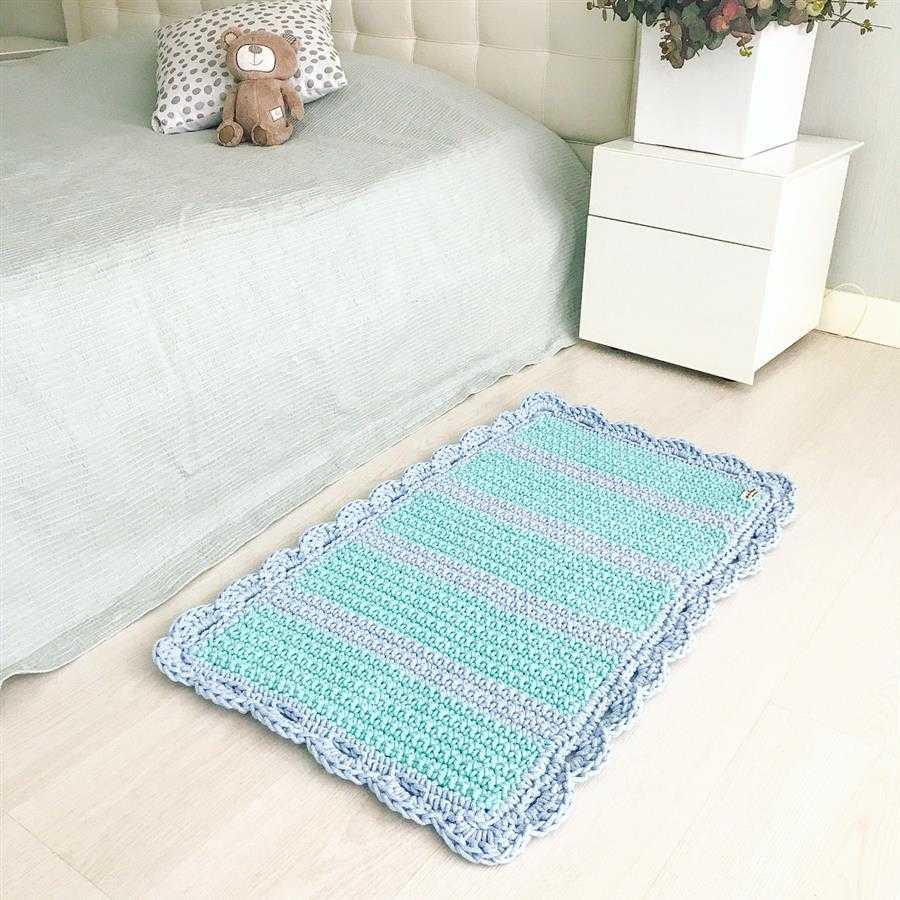 tapete de crochê para quarto retangular