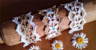 trio de pulseiras de crochê