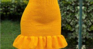 saia de crochê amarela com babado