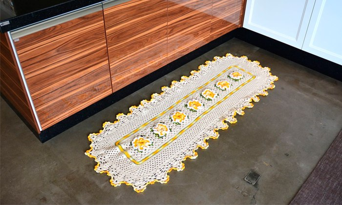 tapetes de barbante para cozinha com flores