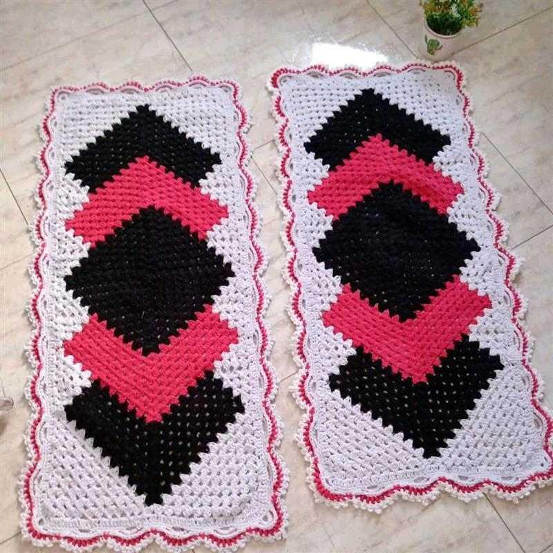 tapete cronos diagonal em crochê