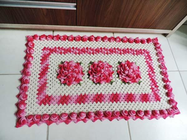 tapete de barbante barroco natural rosa