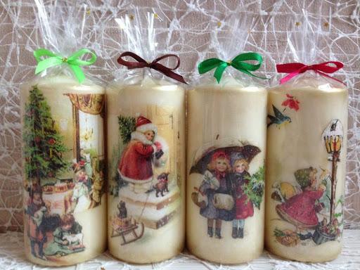 vela de Natal com decoupage
