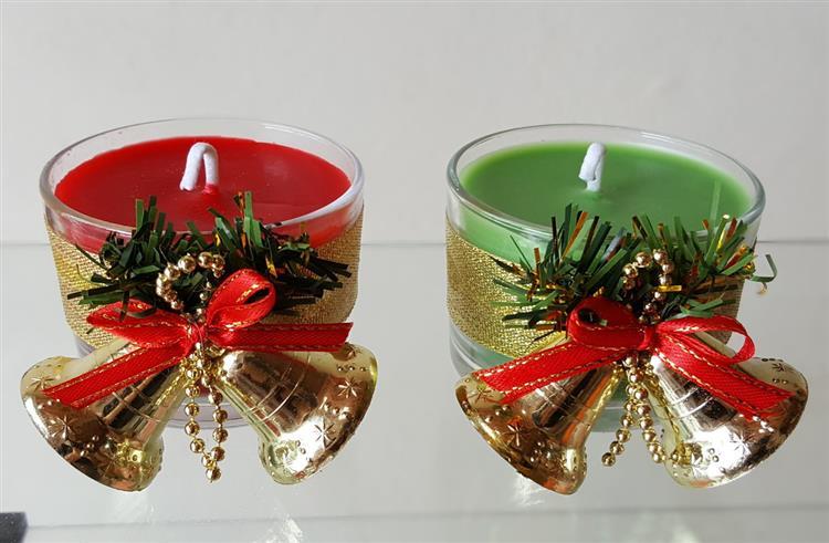 Vela de Natal no copo