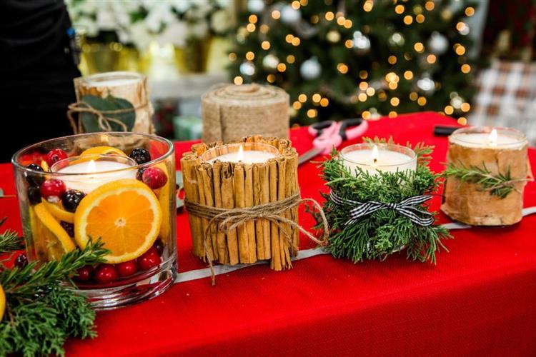 velas de Natal na decoração