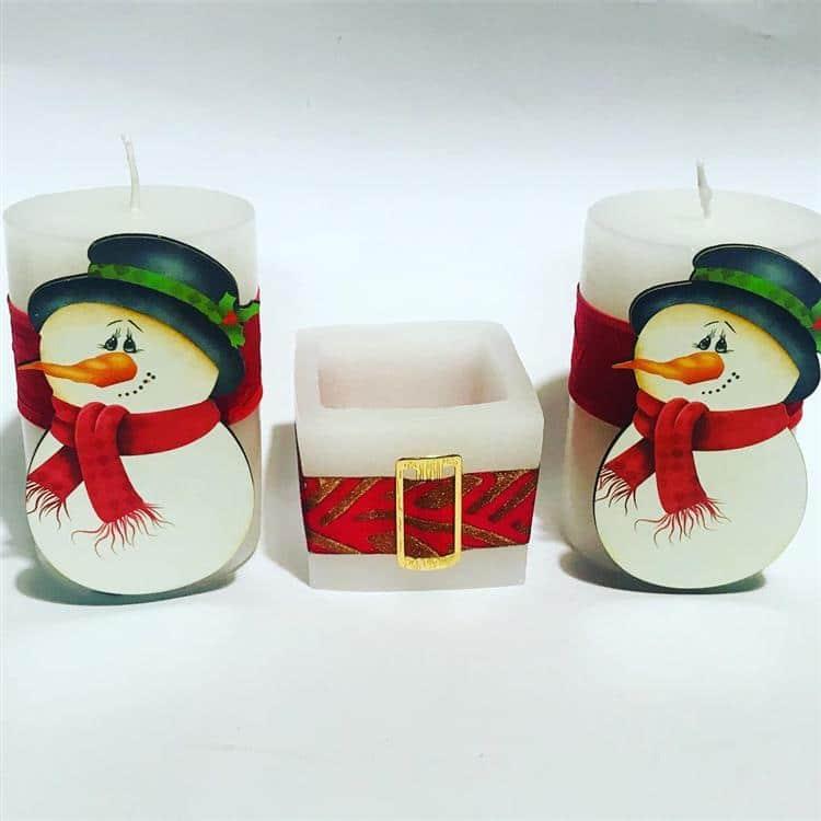 Decoração de velas natalinas