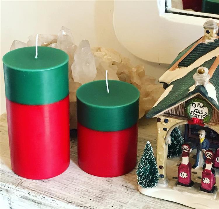 Vela de Natal vermelha e verde