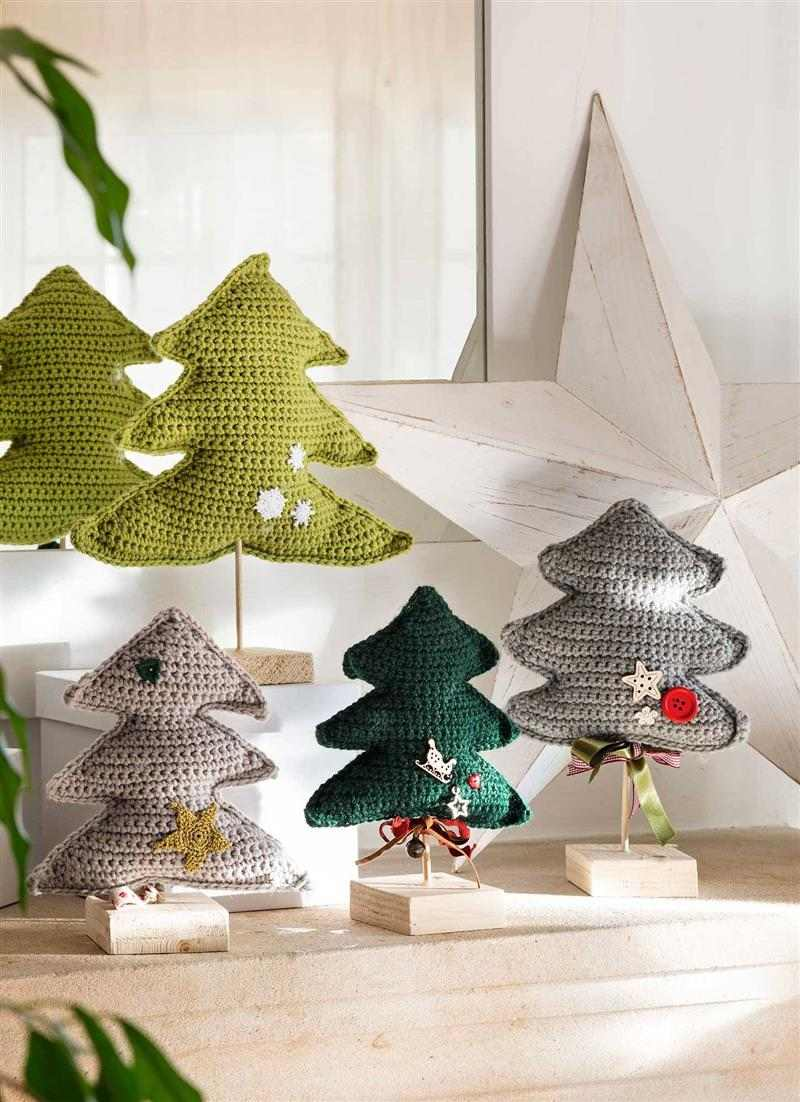 Mini árvore de Natal de crochê