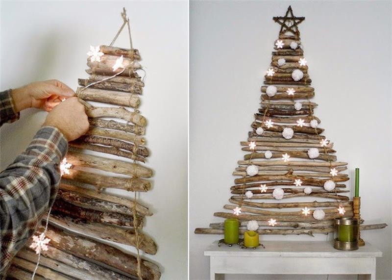 Árvore de Natal artesanal com galhos secos