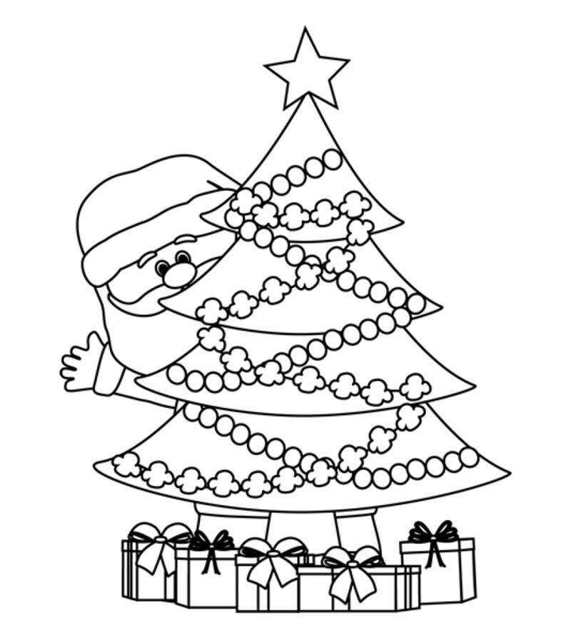 árvore de Natal com o Papai Noel escondido