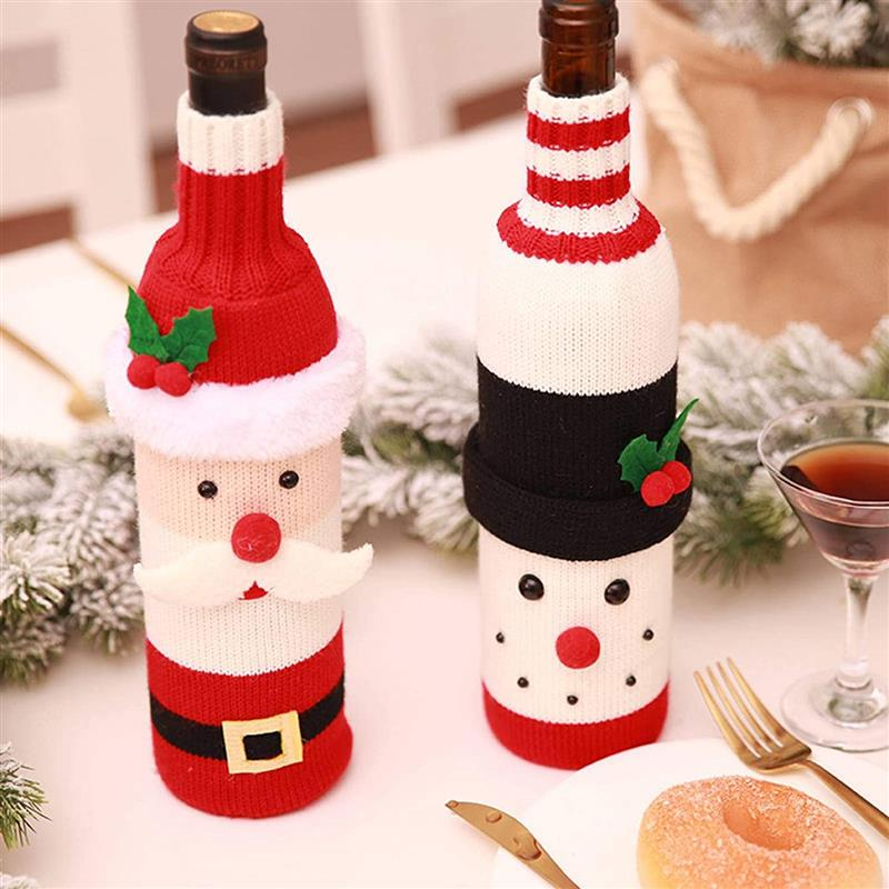 enfeites de natal para mesa de jantar com garrafas