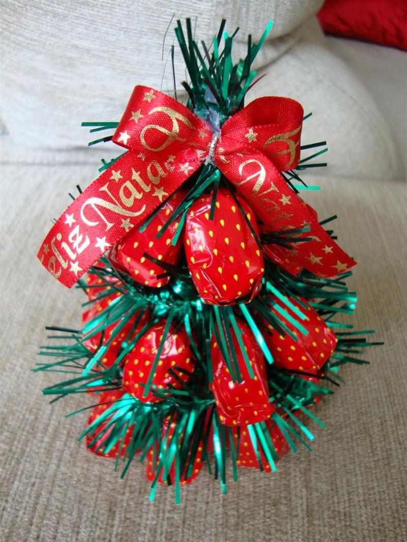 Mini árvore de Natal de balas