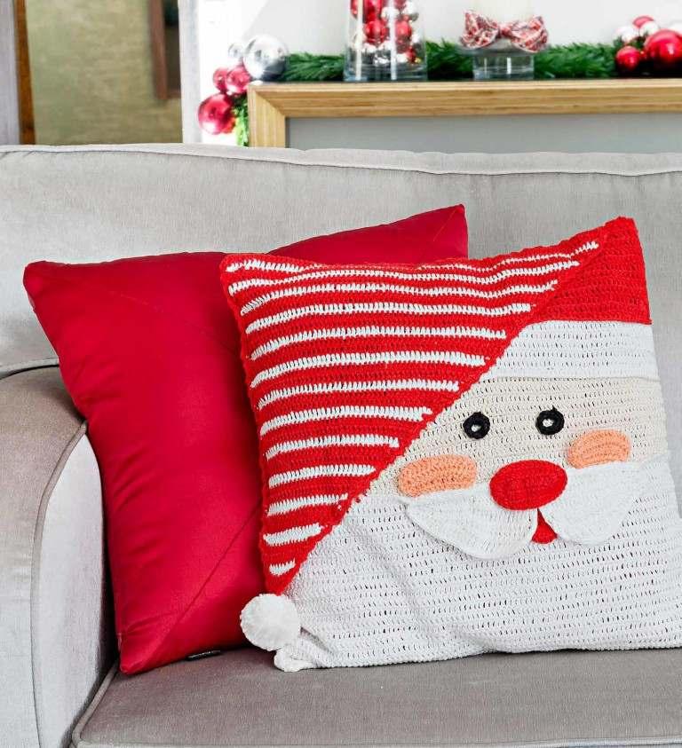 almofadas de natal de crochê