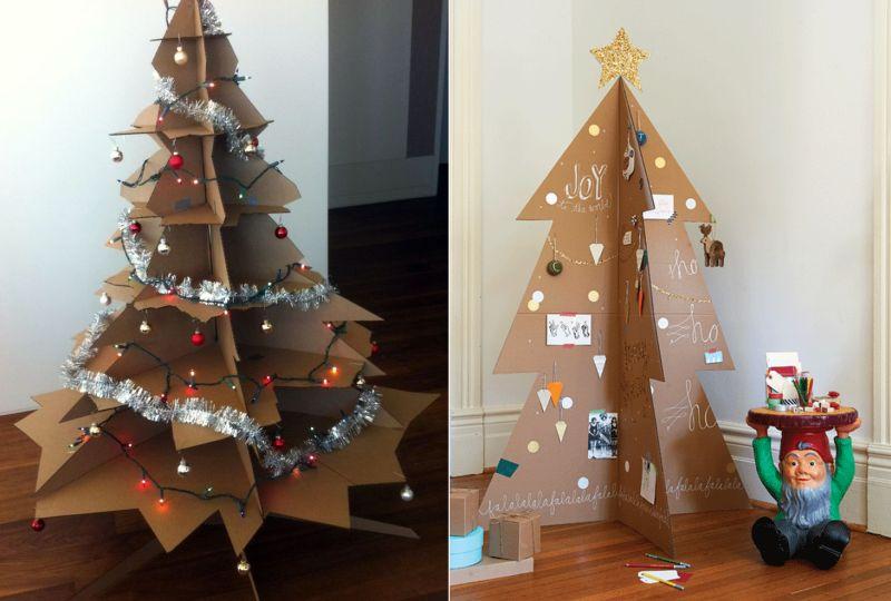 Árvore de Natal de papelão reciclado
