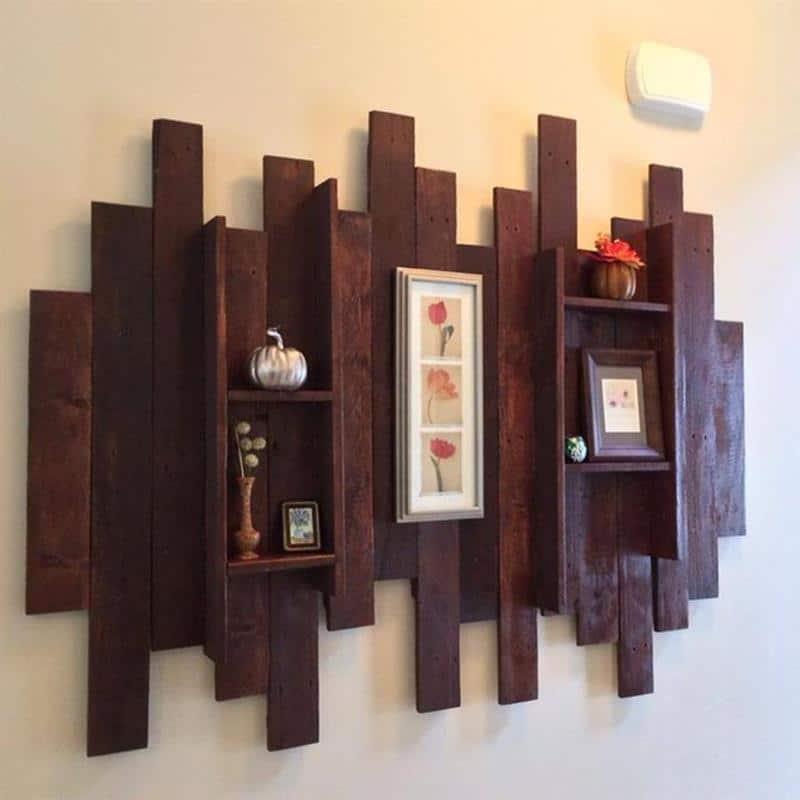 decoração de parede com madeira