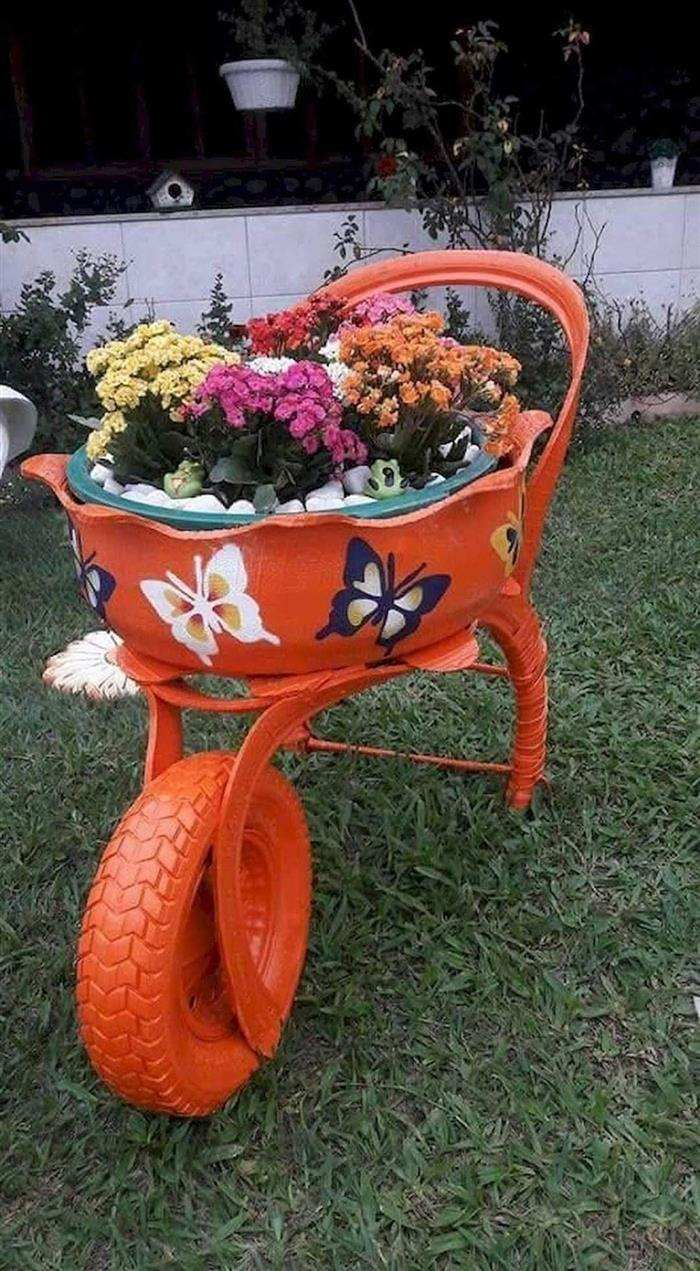 artesanato para jardim com pneus