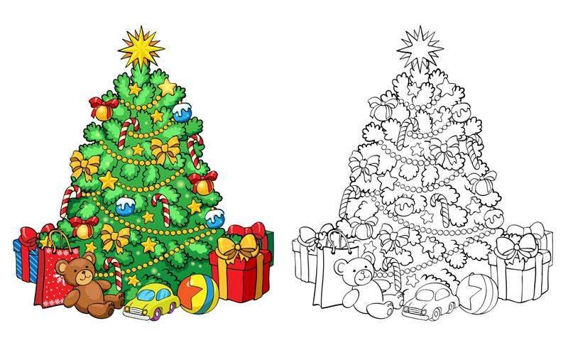 Modelo de árvore de Natal para colorir
