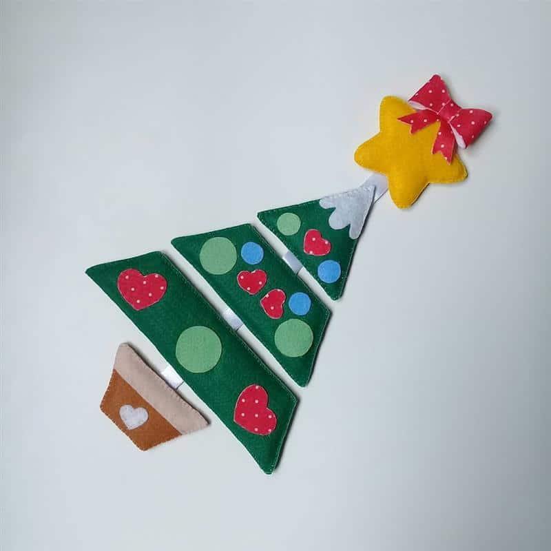 Árvore de Natal de feltro para porta