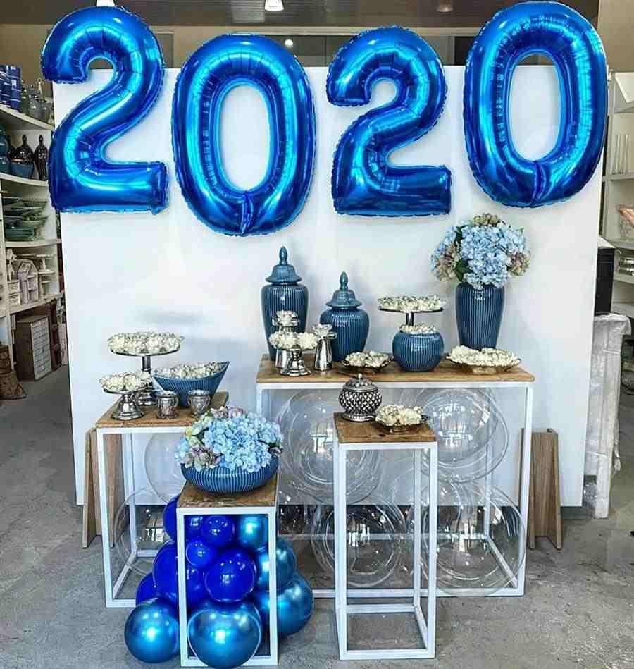 decoração de festa de Réveillon azul